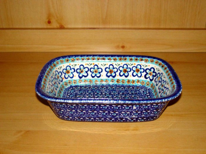 Polish Pottery Loaf Baker  Blue Marble Zaklady Ceramiczne Boleslawiec Poland