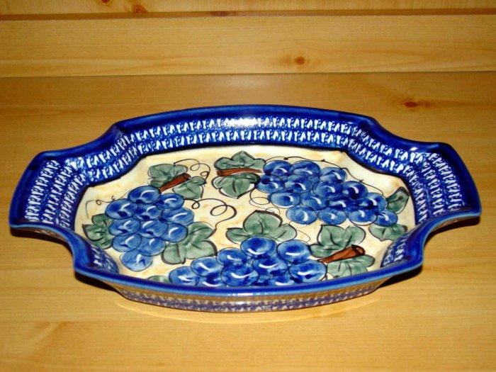 Polish Pottery Serving Tray Dish Grapes Unikat Zaklady Ceramiczne Poland