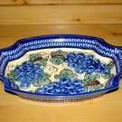 Polish Pottery Serving Tray Dish Grapes Unikat Zaklady Ceramiczne Poland