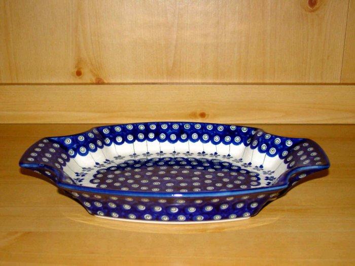 Polish Pottery Serving Tray Dish Flowering Peacock Zaklady Ceramiczne Boleslawiec