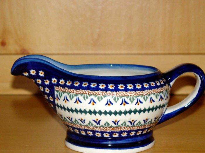 Polish Pottery Unikat Gravy Boat  Daisy Zaklady Ceramiczne Boleslawiec Poland Art 104