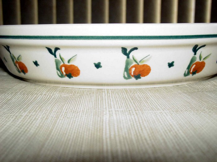 Polish Pottery Pie Dish Boleslawiec Poland Cherries Pattern