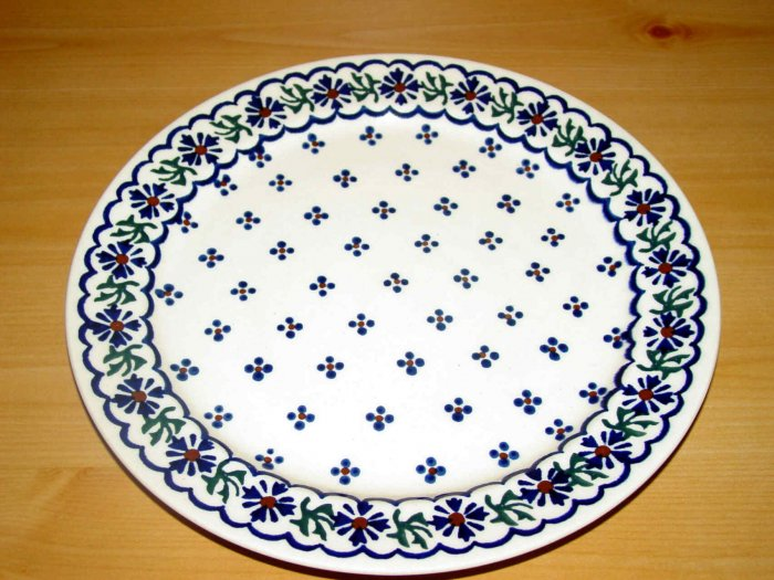 Polish Pottery Dinner Plate Country Flower Wiza Boleslawiec Poland