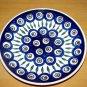 Polish Pottery Dessert Plate Blue Peacock Wiza Boleslawiec Poland