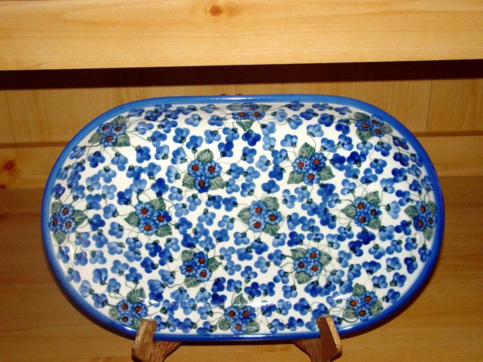 Polish Pottery Platter Signature Unikat 3 Sisters From W.R. Ceramika Boleslawiec Poland