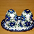 Polish Pottery Salt and Pepper WR Unikat Signature Profusion  Artist Signed Boleslawiec Poland