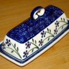 Polish Pottery Butter Dish Blue Daisy Chain Wiza Boleslawiec Poland