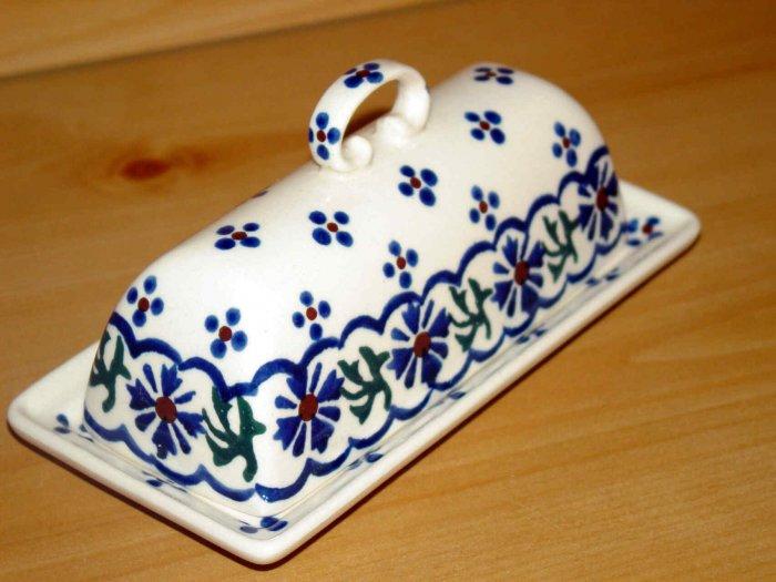 Polish Pottery Butter Dish Country Flower Wiza Boleslawiec Poland