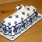 Polish Pottery Butter Dish Country Flower Wiza Boleslawiec Poland