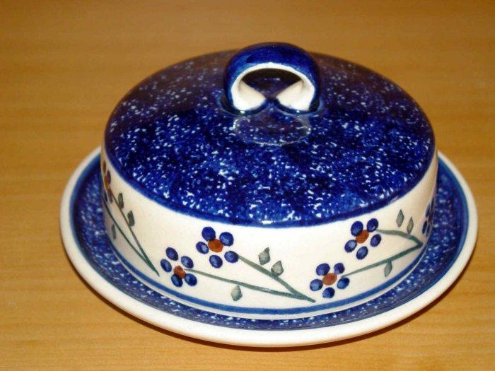 Polish Pottery Butter Bell Dish Blue Daisy Chain Wiza Boleslawiec Poland