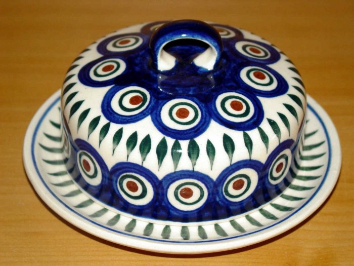Polish Pottery Butter Bell Dish Peacock Wiza Boleslawiec Poland