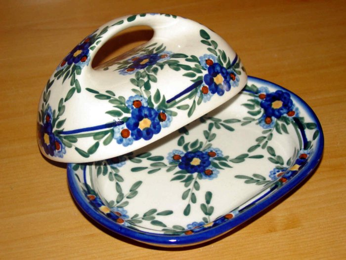 Polish Pottery Butter Dish Signature Florette WR Unikat Boleslawiec Poland