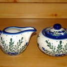 Polish Pottery Sugar and Creamer Signature Starburst  WR Unikat Boleslawiec Poland