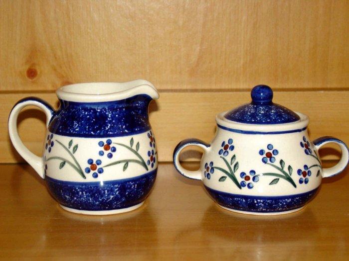 Polish Pottery Sugar and Creamer Daisy Chain Wiza Boleslawiec Poland
