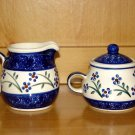 Polish Pottery Sugar and Creamer Daisy Chain Wiza Boleslawiec Poland