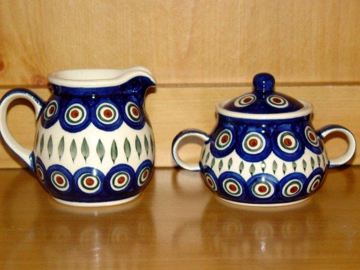 Polish Pottery Sugar & Creamer Set Peacock From Wiza Boleslawiec Poland