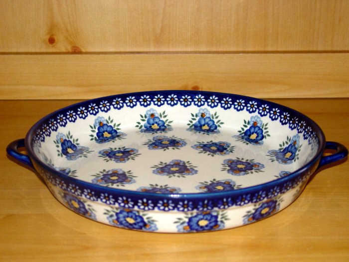 Polish Pottery Baker Large Serving Tray Signature Round Profusion WR Unikat Boleslawiec Poland