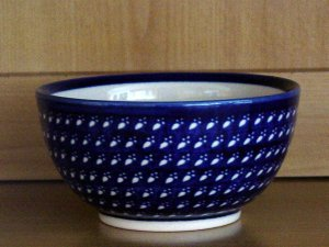 Polish Pottery Bowl Dessert Ice Cream Clear Paw Prints Boleslawiec Poland