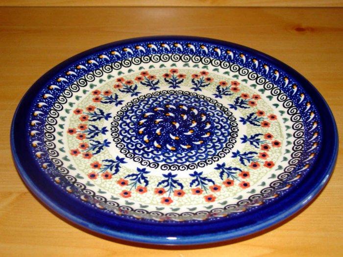 Polish Pottery Dinner Plate Unikat Rose Bud Art 144 Zaklady Ceramizcne Boleslawiec Poland Signed