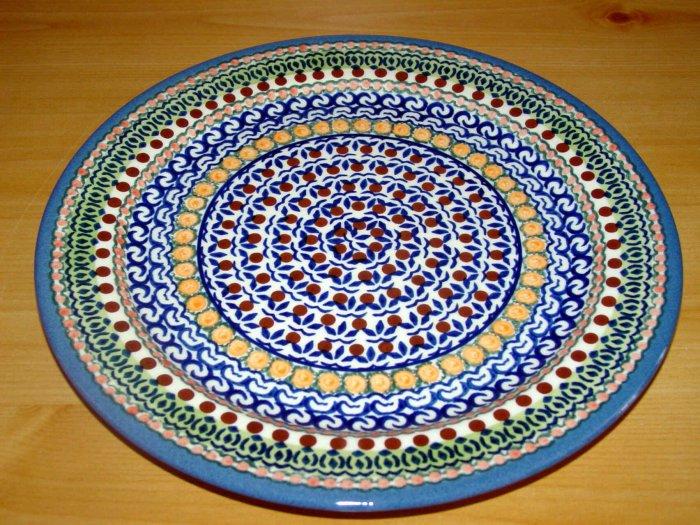 Polish Pottery Dinner Plate Unikat Full Circle Wiza Boleslawiec Poland Artist Signed