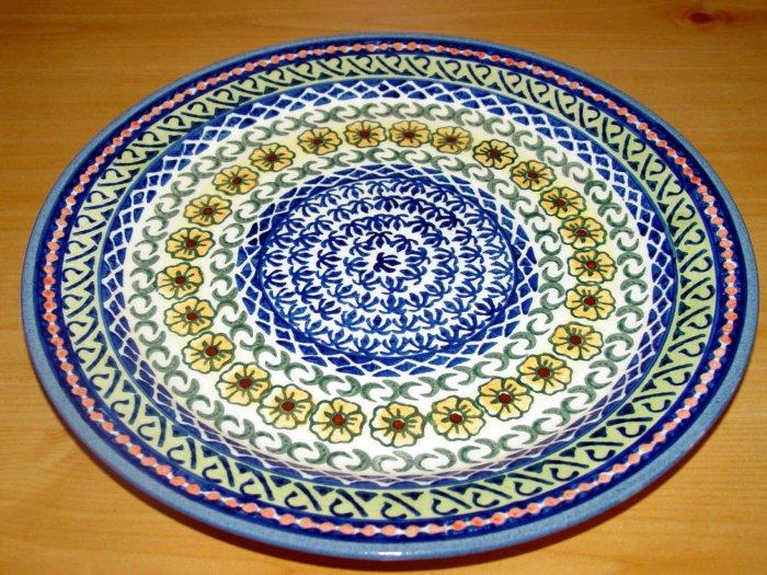 Polish Pottery Dinner Plate Unikat Sunflower Artist Signed Wiza Bolesalwiec Poland
