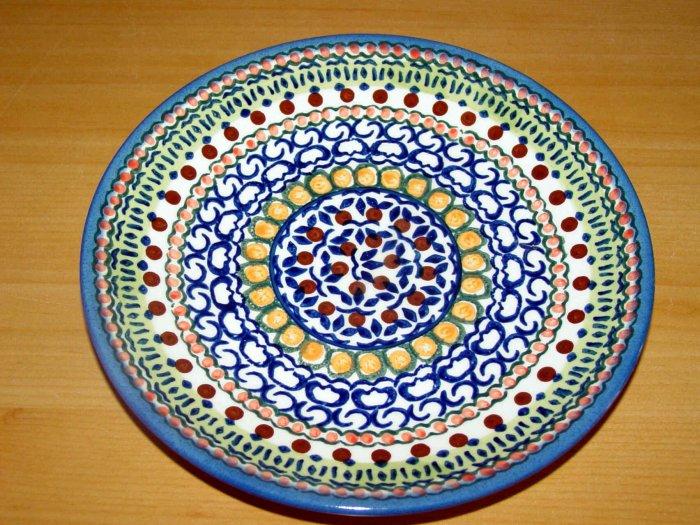 Polish Pottery Dessert Plate Unikat Full Circle Artist Signed Wiza Boleslawiec Poland