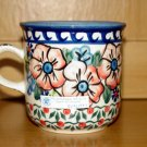 Polish Pottery Coffee Mug Unikat Flower Blooms Artist Handsigned Wiza Boleslawiec Poland