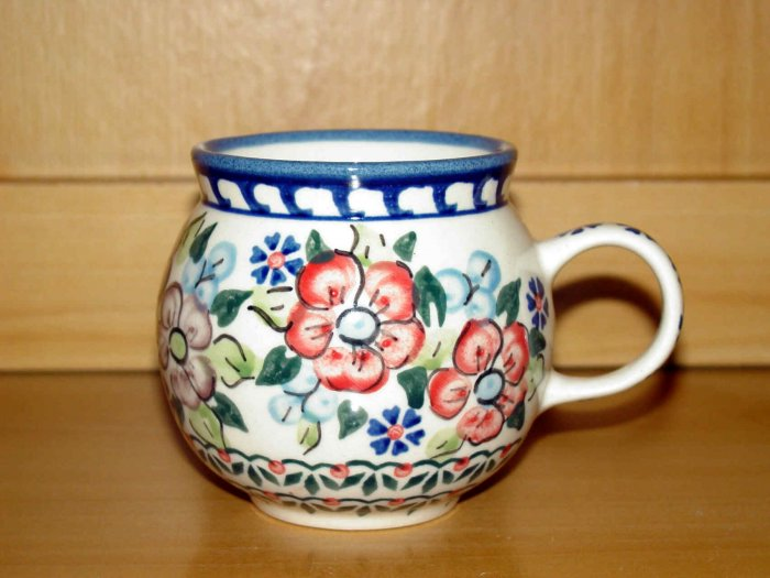 Polish Pottery Bubble Mug Unikat  Flower Blooms Artist Signed Wiza Boleslawiec Poland