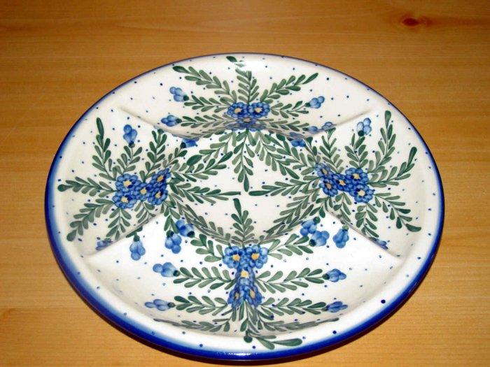 Polish Pottery Signature Deviled Egg Veggie Fruit Tray Starburst WR Unikat Ceramika Boleslawiec