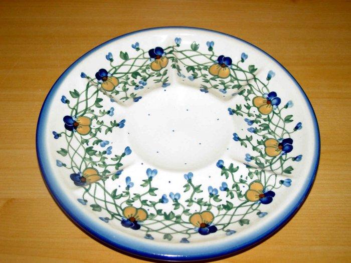 Polish Pottery Signature Deviled Egg Veggie Fruit Tray Pansy WR Unikat Ceramika Boleslawiec Poland