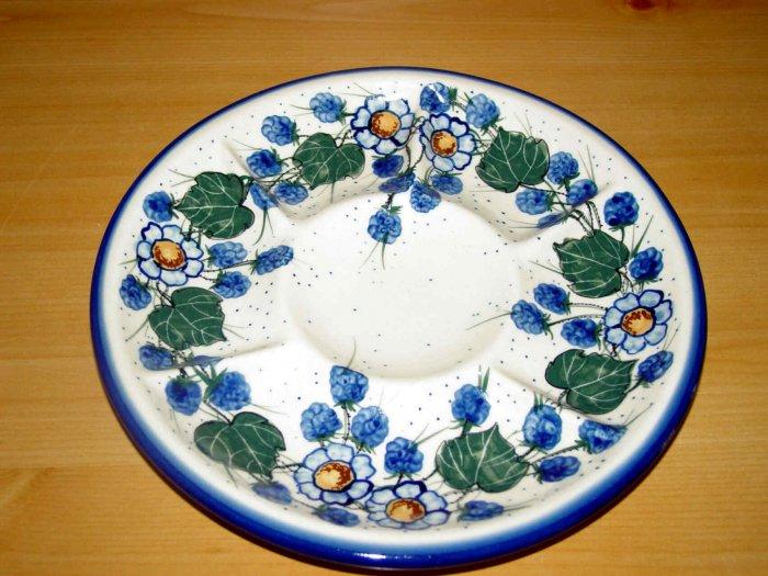 Polish Pottery Signature Deviled Egg Veggie Fruit Tray Spring Morn WR Unikat Boleslawiec Poland