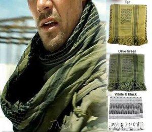 MENS / WOMENS ARAB SHEMAGH KEFFIYEH SCARF OLIVE GREEN & BLACK