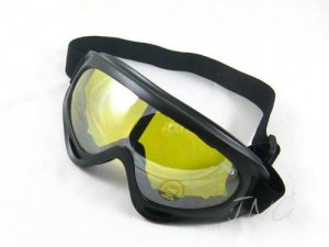 DAY / NIGHT VISION DRIVING MOTORCYCLE RIDING YELLOW LENS PADDED GOGGLES SAFETY GLASSES