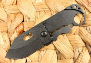 GIANT ROBOT Folding Pocket Knife w/ Dragon Carved Grip