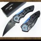 IRON MAN AVIATION ALUMINIUM HANDLE FOLDING POCKET KNIFE WITH BOX - BLUE