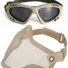 Protection Steel Face Mask with Metal Mesh Goggles Khaki Airsoft Paintball Set