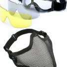 2 in 1 Protection Steel Face Mask + X800 3 Lens Goggles Airsoft Paintball Set