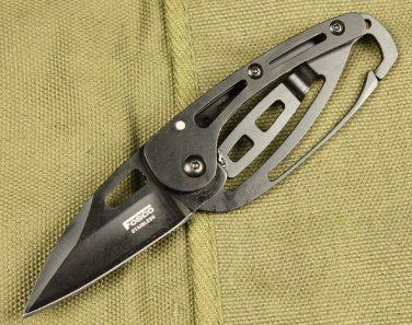 Black Skeleton Design EDC Pocket Folding Knife with Box, Can Use as Keychain/ Keyring