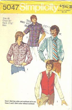 Simplicity #5047 Mens 1970s Dress or Sport Shirts in 3 Views & Back Belt Vest Chest 48 FF Pattern