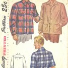 Simplicity #1961 Mens WW2 Era Back Yoke Sport Shirt w/ Long or Short Sleeves Large Pattern