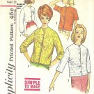 Simplicity #4464 Misses 1960s Jacket Style Button Front Blouse in 3 Views Bust 31 Pattern