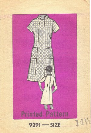Marian Martin #9291 Half Size 1970s Nehru Collar Princess Line Dress Bust 37 Pattern