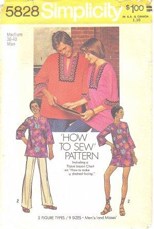 Simplicity #5828 Unisex 1970s Mens Daskiki Shirt or Misses Daskiki Dress Sz 38-40 Pattern