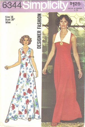 Simplicity Designer #6344 Misses 1970s V-Neck Sleeveless Maxi Dress~Detach Collar Bust 38 FF Pattern