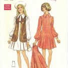 Butterick #5563 Junior 1970s Dress w/ Flip Skirt & Sleeveless Jacket Bust 32 Pattern