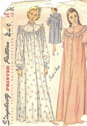 Vintage 1940s Womens Long or Short Comfy Nightgown w/ Ruffle Trim Bust 44 Pattern