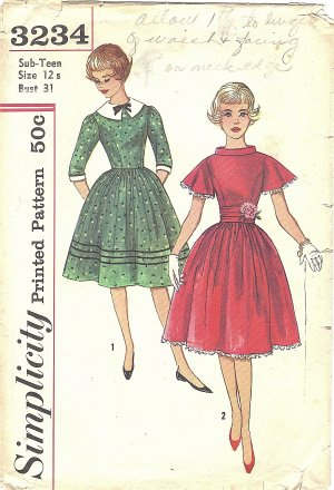 Simplicity #3234 Sub-Teen 1960s Daytime or Party Dress w/ Cummerbund Bust 31 Pattern