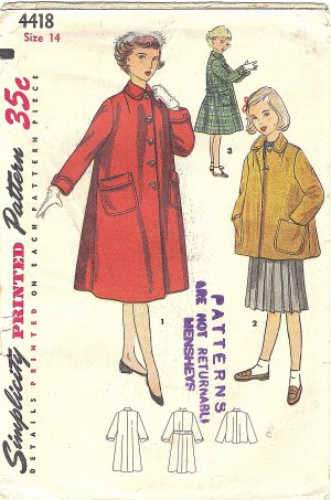 Simplicity #4418 Girls 1950s Swagger or Topper Coat w/ Back Belt Option Sz 14 Pattern