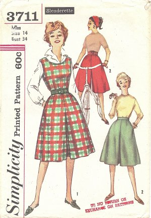 Simplicity #3711 Misses Slenderette 1960s Divided Skirt Jumper or Split Skirt Bust 34 Pattern
