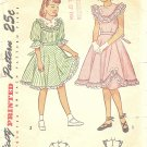 Simplicity #2629 Girls 1940s Ruffle Trimmed Yoke Bodice Party Dress Sz 10 Vintage Pattern